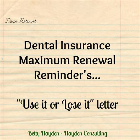 Dental Insurance Letters To Patients remaining dental insurance maximum letter use it or lose