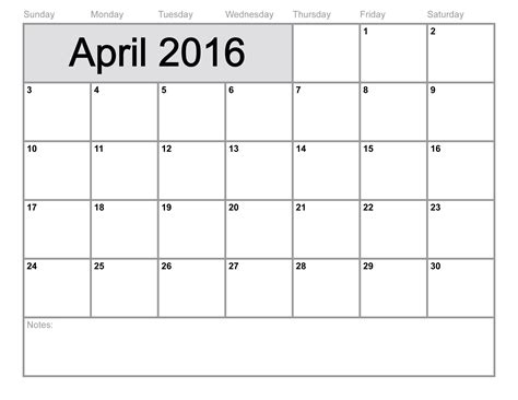 Calendar April 2016 April 2016 Calendar Printable Template 8 Templates