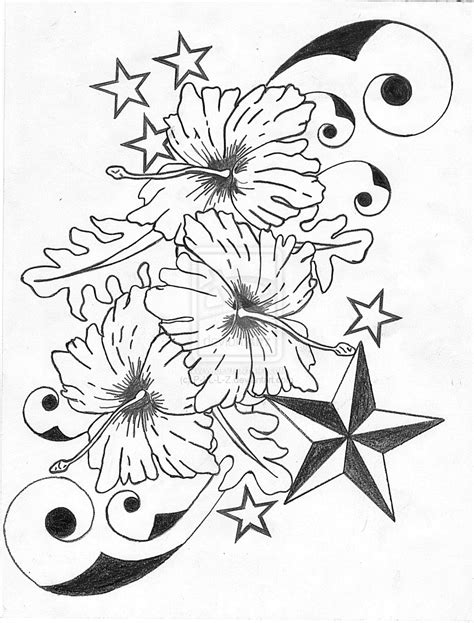 tattoo flower drawn hibiscus flower n nautical star tattoo designs jpg 1024