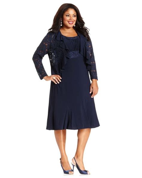 Fashion Dress A30801 Size M r m richards r m richards plus size sleeveless embroidered dress and jacket in blue navy