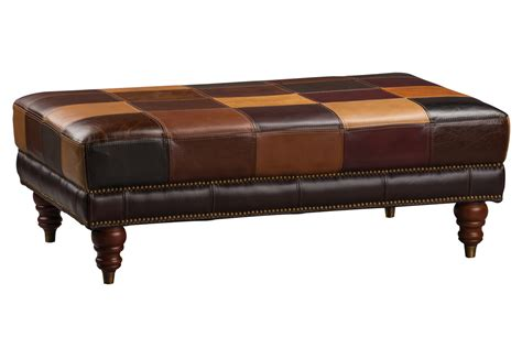 patchwork leather cocktail ottoman at gardner white
