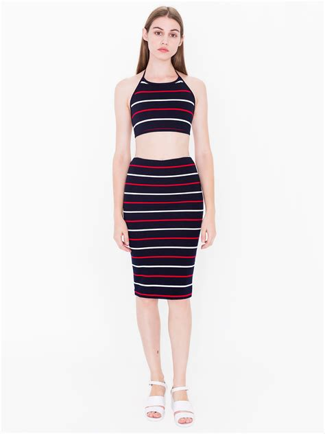 striped ponte mid length pencil skirt american apparel