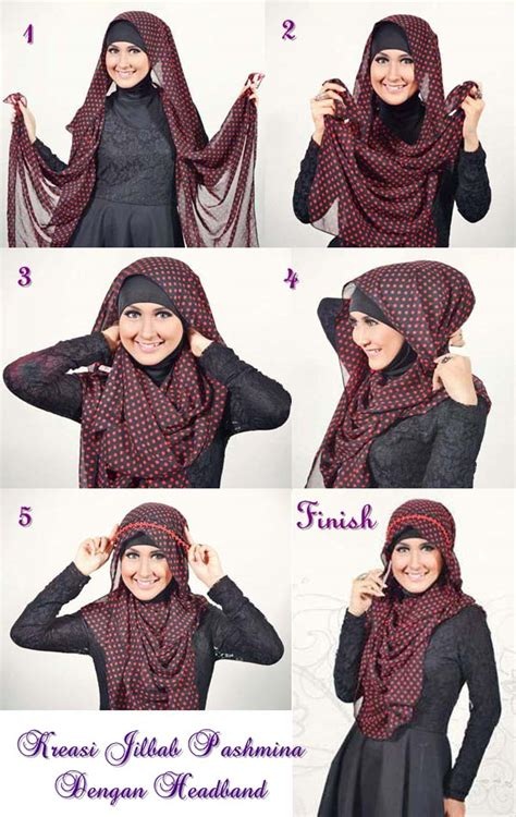 tutorial hijab pashmina dengan headband cara pakai hijab shawl with hijab tutorial hijabiworld