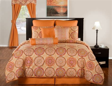 4pc modern mango pumpkin orange mosaic design cotton
