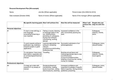 individual development plan template personal sle