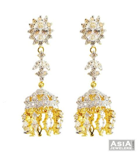 gold jhumka pattern signity studded jhumka earrings 22k ajer57423 us 952