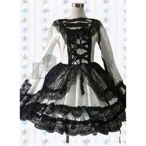 Special long sleeves lace bandage cotton black and white gothic lolita