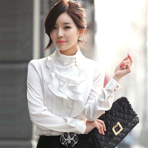 womens styles for large neck new women victorian ruffle collar shirt puff sleeve silky