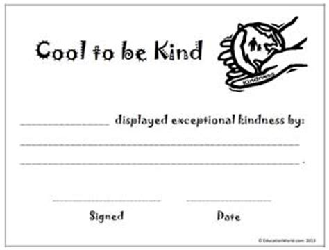 Education World: 'Cool to be Kind' award certificate