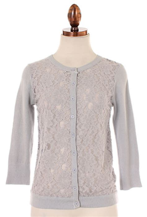 Decorative Panel Sweater White Grey 1 cardigan next doorl lace panel 3 4 sleeve cardigan in grey sincerely sweet boutique