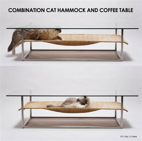 a coffee table for cats technabob cat hammock combo coffee table by case real if it s hip