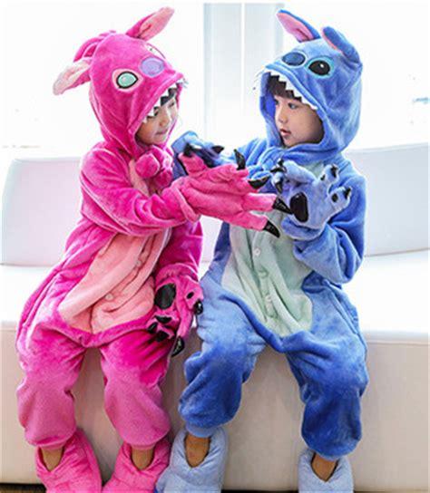 Jam Flanel Stitch Pink animal blue pink lilo stitch pajamas unisex onesie flannel one sleepwear jumpsuits