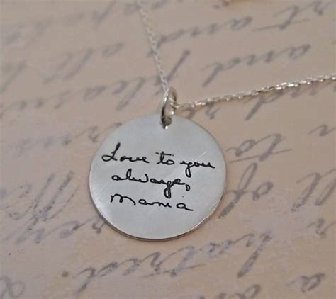 Handwritten Necklace Personalized Jewelry Silver