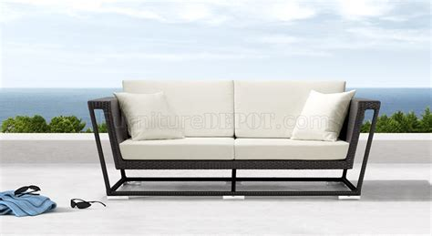 Black Weave Modern Outdoor Patio Sofa W White Cushions Modern Outdoor Sofa