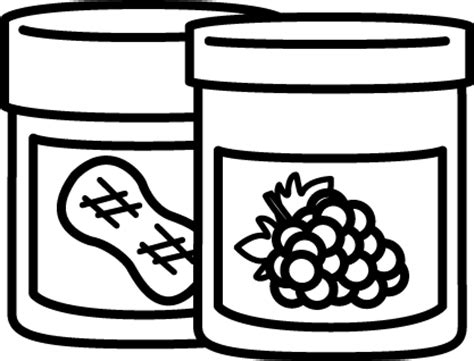 Pb J Coloring Pages by Black And White Jar Of Peanut Butter And Jelly Clip