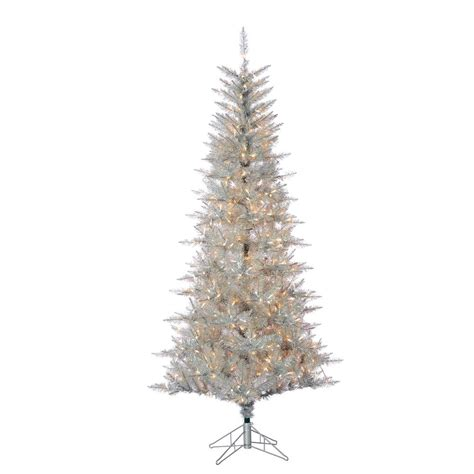 sterling 7 5 ft pre lit silver tuscany tinsel christmas