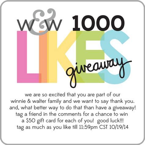 How To Have A Giveaway On Facebook - winnie walter blog 1000 likes facebook giveaway