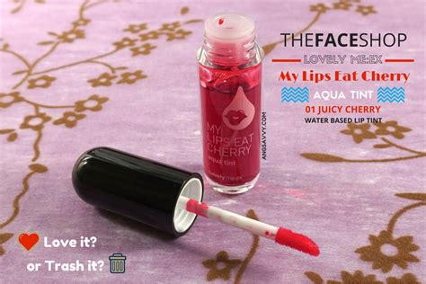 Harga The Shop Lip Tint My Eat Cherry the shop my eat cherry aqua tint review ang savvy
