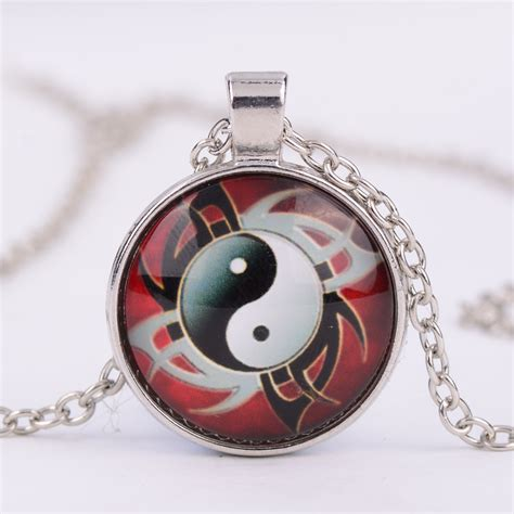 Taoism Sign Ancient Eight Diagrams Pendant Necklace Charms Yin style taijiquan yin yang shape glass pendant necklace taoism sign ancient eight