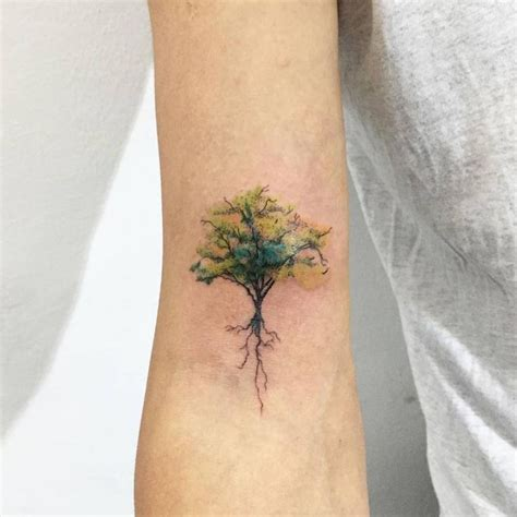 small tree tattoo watercolor tree designs ideas and meaning