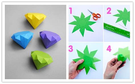 Cool Easy Paper Crafts - how to make cool diy 3d paper diamonds step by step