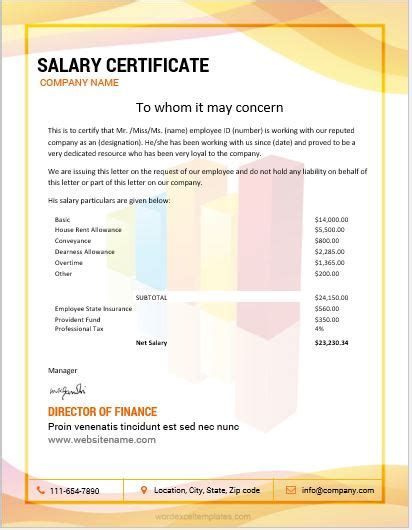 template of salary certificate 10 best salary certificate templates for ms word word