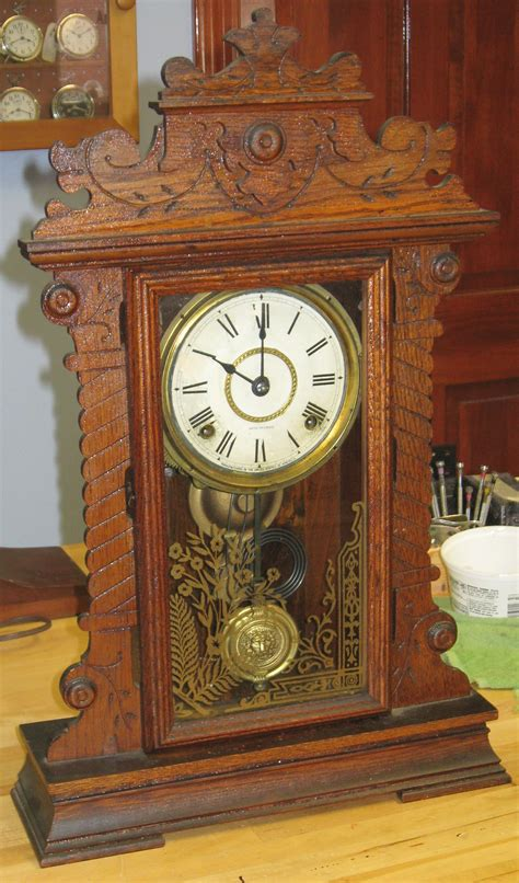 antique seth oak kitchen clock with label and