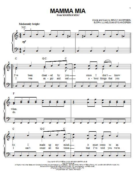 tutorial piano mamma mia mamma mia sheet music by abba easy piano 54151