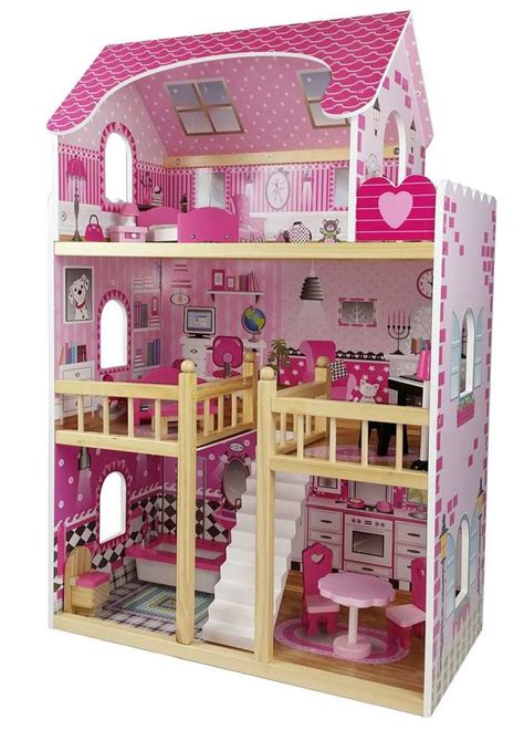 pink wooden doll house butternut childrens girls pink large 3 storey wooden dolls