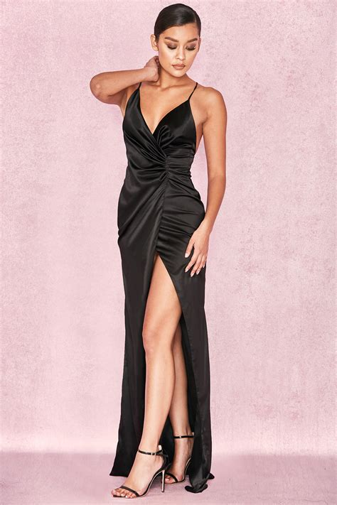 Fairuz Dress clothing max dresses fairuz black draped satin maxi gown