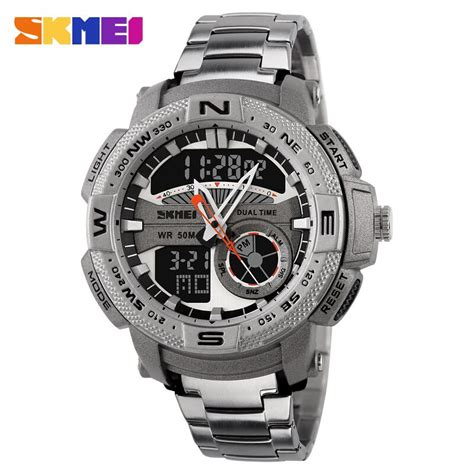 Jam Tangan Pria Skmei Sport Analog Led Water Resistant skmei jam tangan analog digital pria ad1121 silver