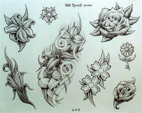 tattoo flash background flower background tattoos floral design in black on a