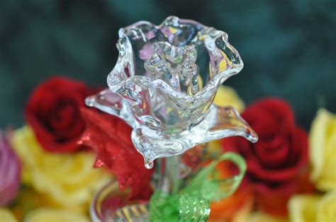 rose in glass glass rose by silver
