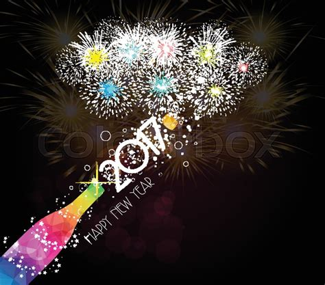 toast box new year open new year chagne toast 2017 background stock vector