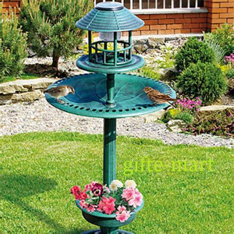 bird bath feeder with solar light and planter 4 in 1 solar led light plastic bird bath bird feeder plant
