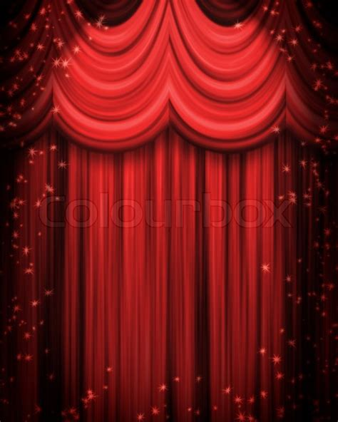 red curtain theatre red theatre curtain with spotlight stock photo colourbox
