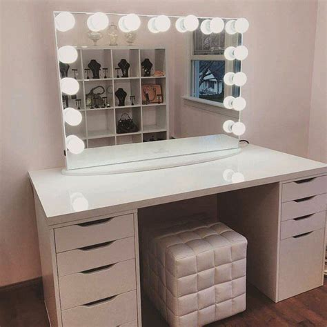 makeup vanity desk with lights instagram post by impressions vanity co