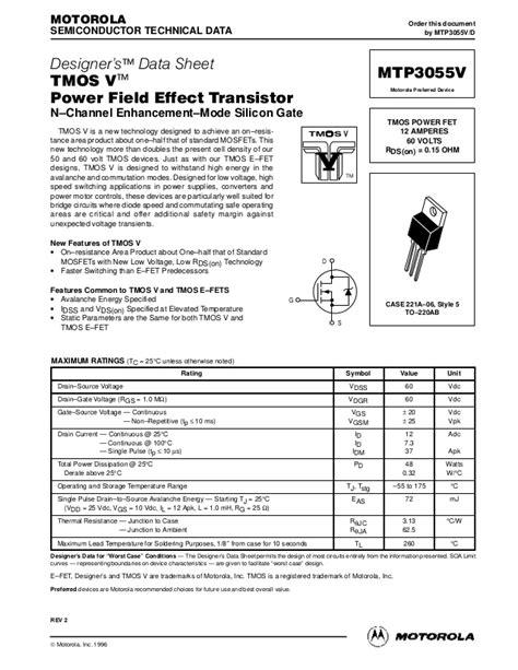 transistor mosfet datasheet datasheet 1