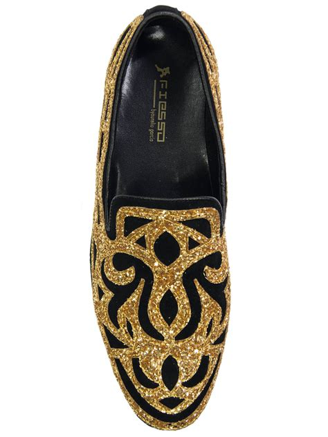 black and gold loafers mens fiesso mens gold black ornate glitter pattern dress