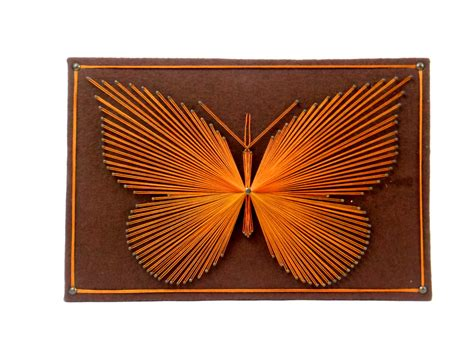 String Wall - butterfly string wall hanging plaque vintage by honestjunk