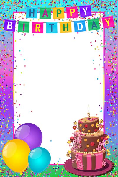 Cards Transparent Background Template For A 4x6 by Happy Birthday Png Transparent Multicolor Frame Gallery