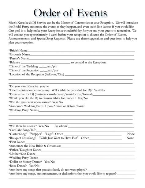 wedding dj song list template wedding itinerary templates free wedding template