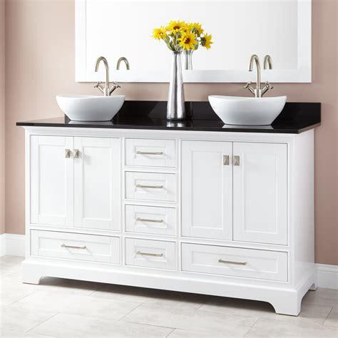 quen double vessel sink vanity white bathroom