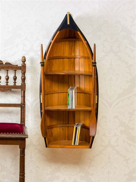 rowing boat shelf unit boat wall shelf replica rowboat shape wood 2 180 11 5