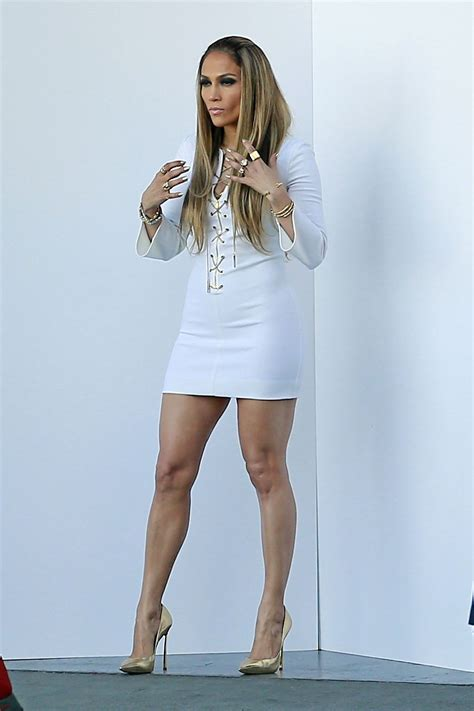 Jlos In by In White Dress On The Set Of American Idol