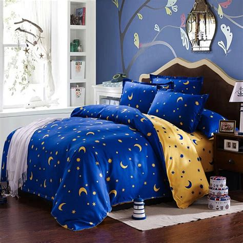 moon and stars bedding set 4pcs bedding suit polyester fibre star moon reactive
