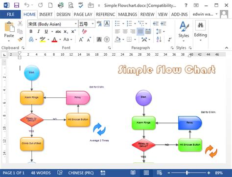 word flowchart flowcharts in word