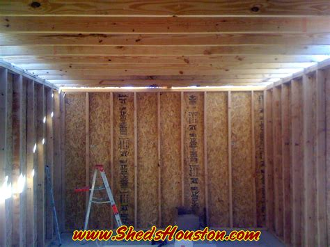 Inside Shed by Sheds Fences Decks Sheds 187 Shed With Attic Being Built