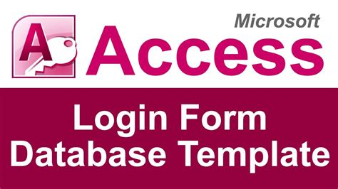 Microsoft Access Login Form Database Template Youtube Microsoft Access Login Form Database Template