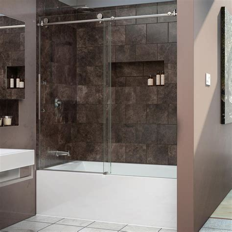 shop dreamline enigma x 59 dreamline enigma x 59 in x 62 in frameless sliding tub